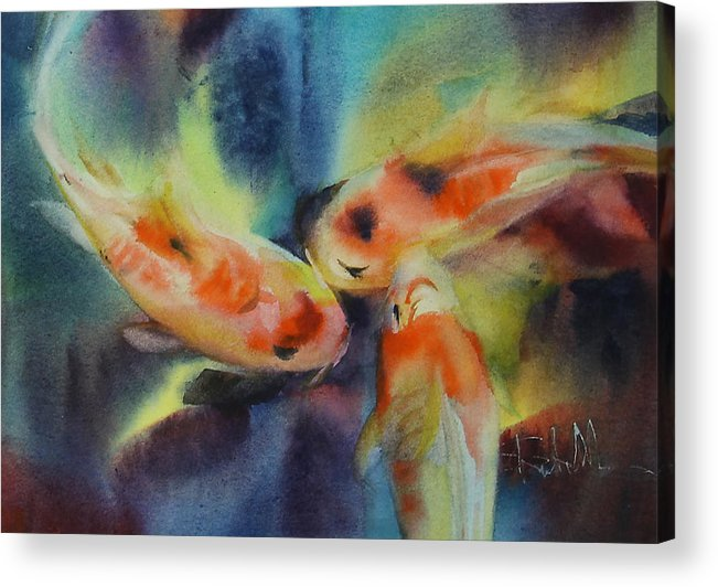 Fish Acrylic Print featuring the painting Koi Series Koillision by Shanti Marie