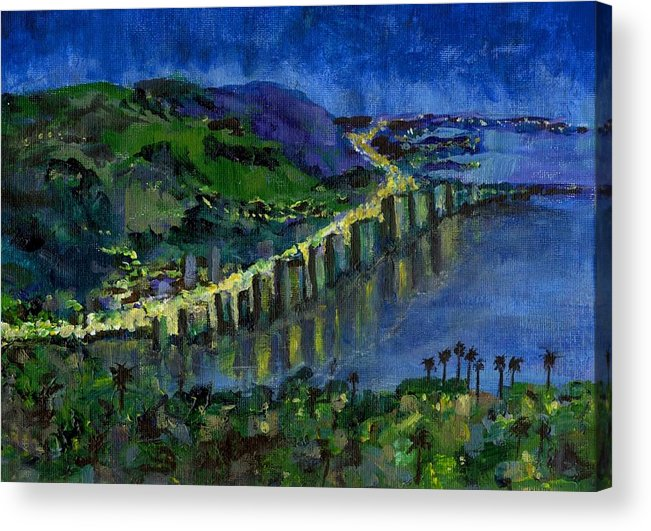 Laguna Acrylic Print featuring the painting Laguna Shores At Night by Randy Sprout