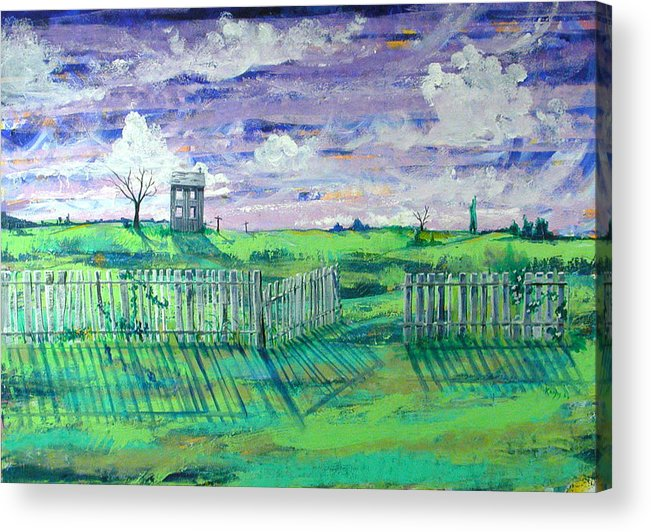Landscape Acrylic Print featuring the painting Landscape With Fence by Rollin Kocsis
