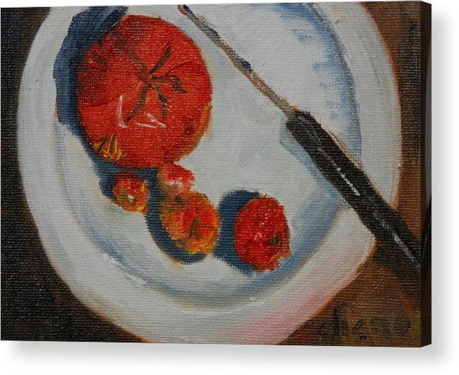Diane Boatright Acrylic Print featuring the painting Last Of The Tomatos by Diane Fiore