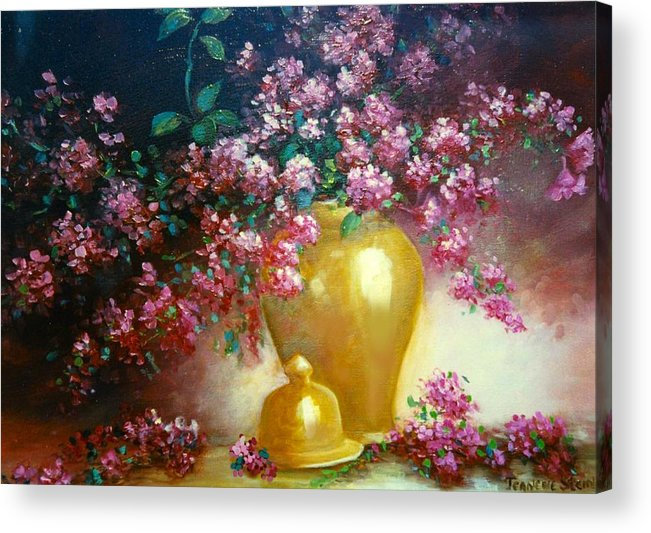 Lilacs Acrylic Print featuring the digital art Lilacs In Gold Vase by Jeanene Stein