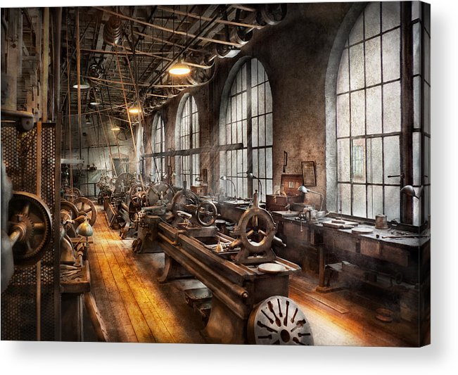 Hdr Acrylic Print featuring the photograph Machinist - A Room Full Of Lathes by Mike Savad