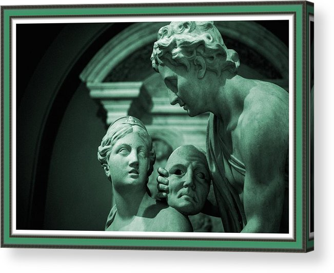 Art Acrylic Print featuring the painting Marble Statue Catus 1 No. 2 H B With Decorative Ornate Printed Frame. by Gert J Rheeders