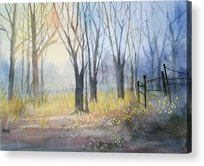 Watercolor Acrylic Print featuring the painting Misty Morning by Ryan Radke