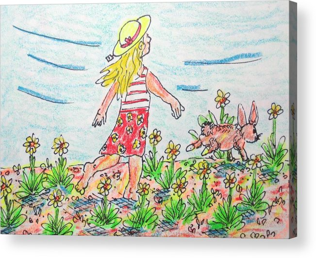 Animals Acrylic Print featuring the drawing Mistys New Hat by Robert Findley