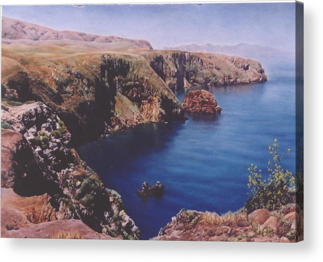 Water Acrylic Print featuring the painting Morning On Santa Cruz by Marion Hylton