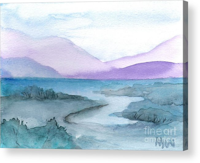 Water Blue Green Purple Seascape Land Sacpe Painting Watercolor Acrylic Print featuring the painting New York Quiet by Marsha Woods