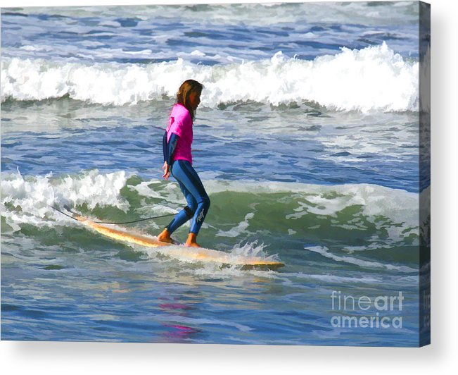 California Acrylic Print featuring the digital art No Stress Surfing by Waterdancer
