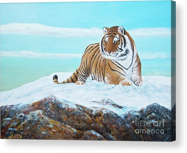 Siberian Tiger Acrylic Print featuring the painting On The Move by Sandy Moser
