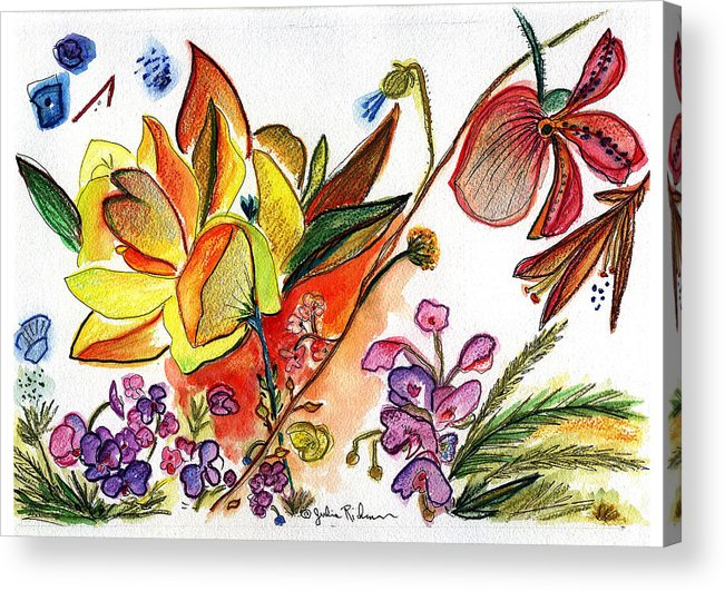 Flowers Acrylic Print featuring the painting Orchid No. 30 by Julie Richman