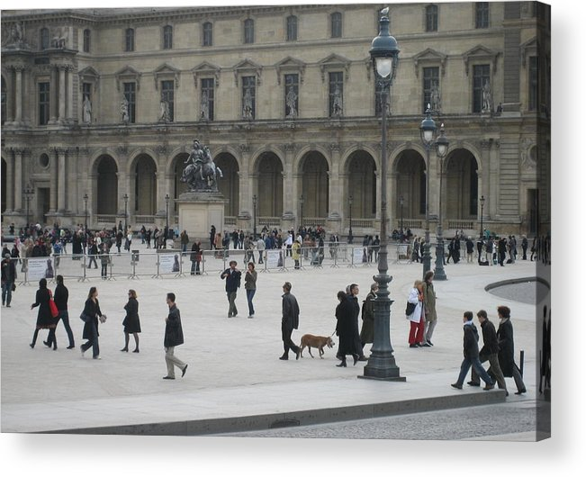 Louvre Acrylic Print featuring the photograph Place Du Carrousel At The Louvre by Victoria Heryet
