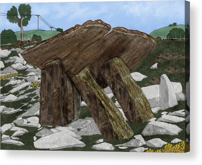 Landscape Acrylic Print featuring the painting Poulnabrone Dolmen County Clare Ireland by Anne Norskog