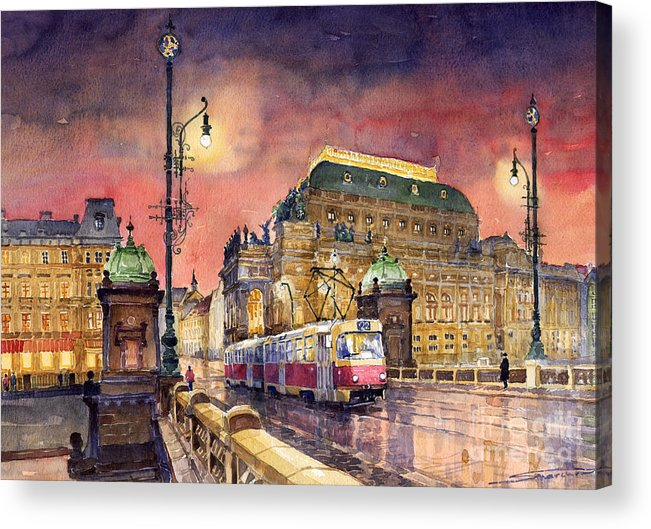 Bridge Acrylic Print featuring the painting Prague Night Tram National Theatre by Yuriy Shevchuk