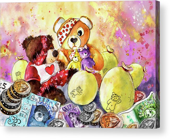 Truffle Mcfurry Acrylic Print featuring the painting Pudsey And Truffle Mcfurry For Children In Need by Miki De Goodaboom