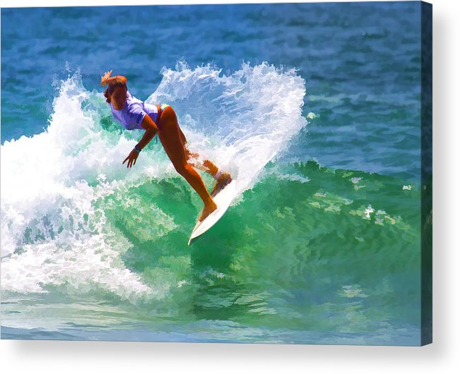 California Acrylic Print featuring the digital art Rainbow Surf Day by Waterdancer