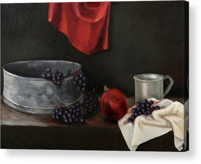 Still-life Dark Brown Red Grapes Blue Drapery Acrylic Print featuring the painting Red Grapes by Raimonda Jatkeviciute-Kasparaviciene