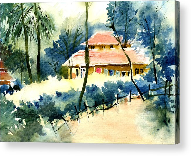 Landscape Acrylic Print featuring the painting Rest House by Anil Nene