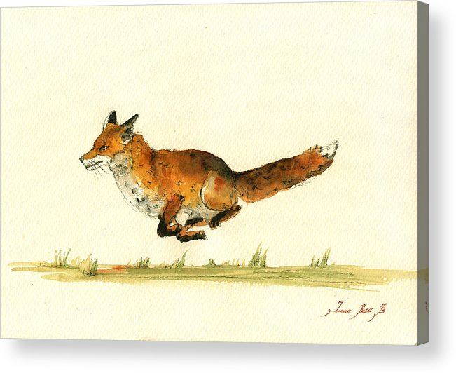Red Fox Art Wall Acrylic Print featuring the painting Running Red Fox by Juan Bosco