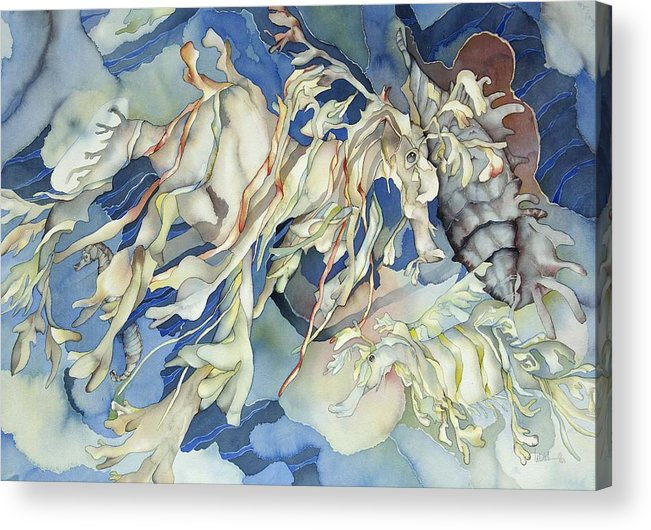 Sealife Acrylic Print featuring the painting Seadragon Fantasy by Liduine Bekman