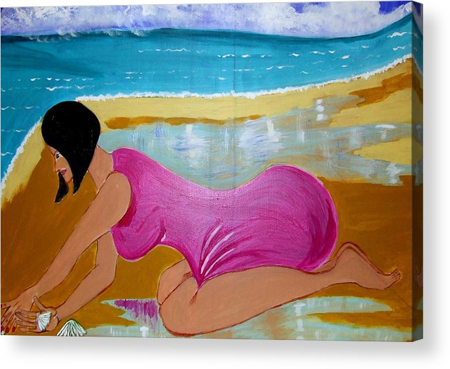 Dreams Acrylic Print featuring the painting Seashells by Rusty Gladdish