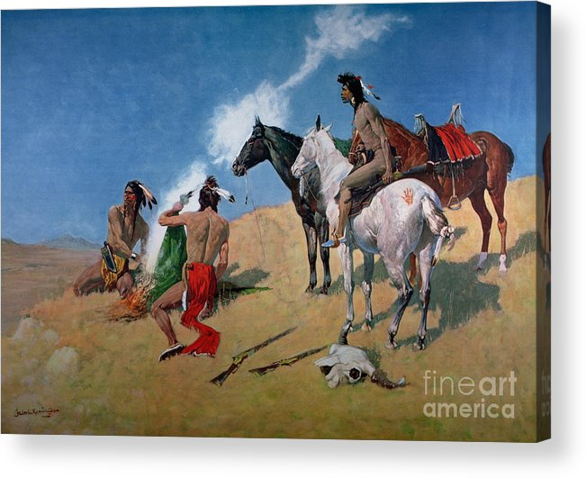 Smoke Signals (oil On Canvas) By Frederic Remington (1861-1909) Remington Acrylic Print featuring the painting Smoke Signals by Frederic Remington