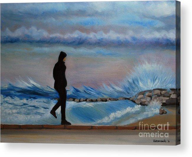 Seascape Acrylic Print featuring the painting Solitude by Kostas Koutsoukanidis