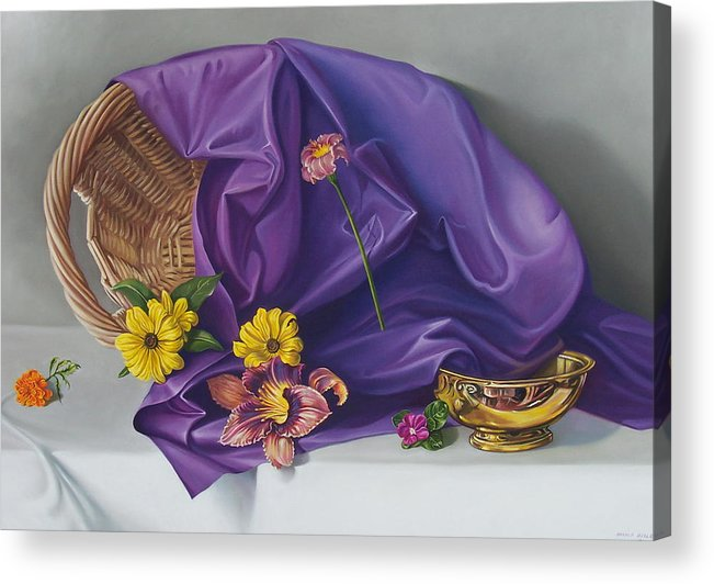 Still Life Acrylic Print featuring the painting Spring Basket by Arnold Hurley