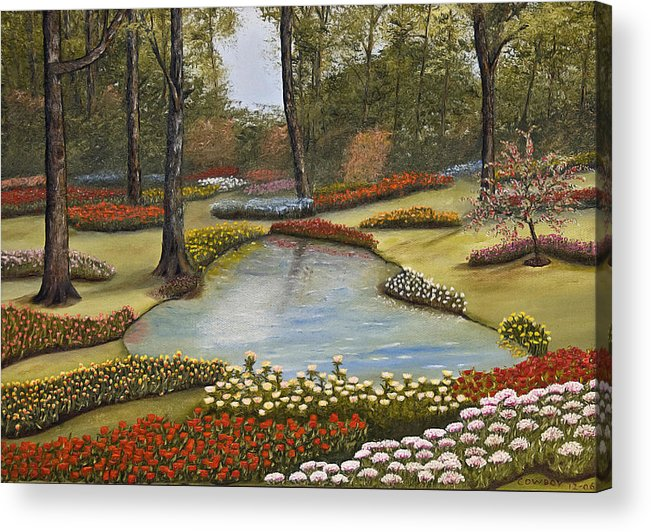 Flowers Acrylic Print featuring the painting Spring Blooms by Darren Yarborough