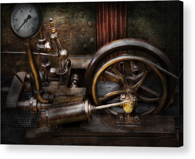 Hdr Acrylic Print featuring the photograph Steampunk - The Contraption by Mike Savad