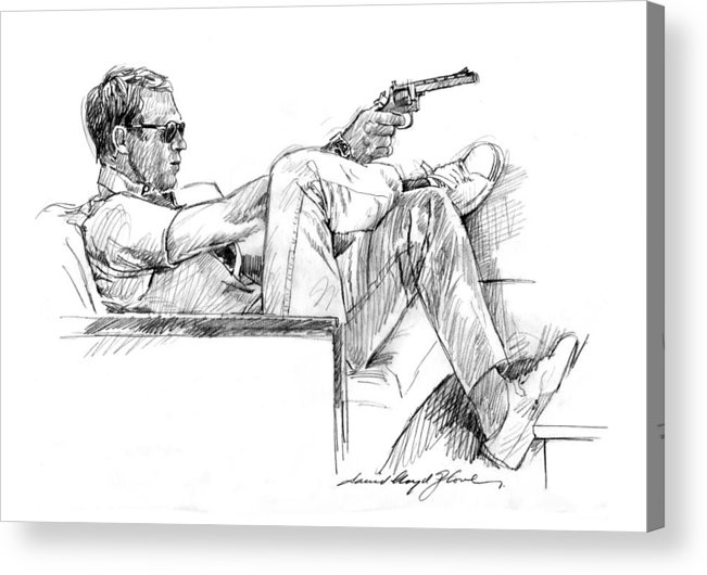 Steve Mcqueen Acrylic Print featuring the drawing Steve Mcqueen Colt 45 by David Lloyd Glover