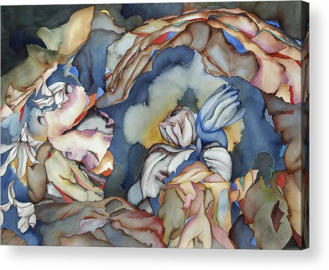Sealife Acrylic Print featuring the painting Strange Horizons by Liduine Bekman