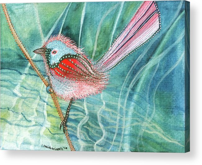 Birds Acrylic Print featuring the painting Summer Pond Daydreams by Lesley Smitheringale