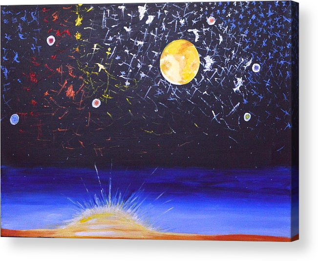 Sun Acrylic Print featuring the painting Sun Moon And Stars by Donna Blossom