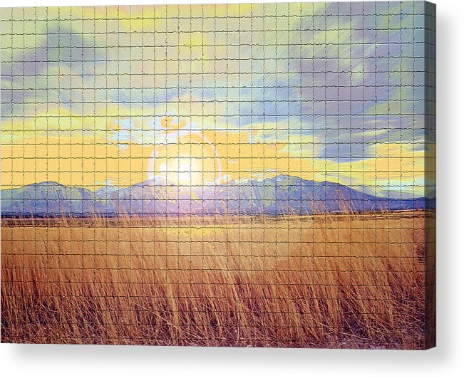 Sunrise Acrylic Print featuring the photograph Sunrise Field 2 - Mosaic Tile Effect by Steve Ohlsen