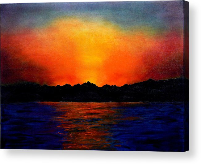 Sinai Sunset Acrylic Print featuring the painting Sunset Sinai by Helmut Rottler