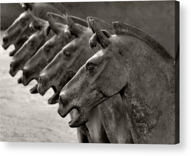 Terracotta Acrylic Print featuring the photograph Terracotta Horses by Joe Bonita