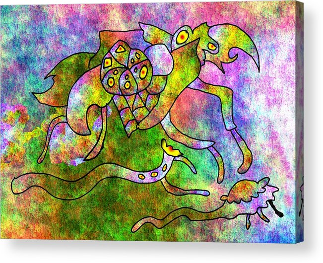 Bugs Color Texture Abstract Fun Acrylic Print featuring the digital art The Bugs by Veronica Jackson