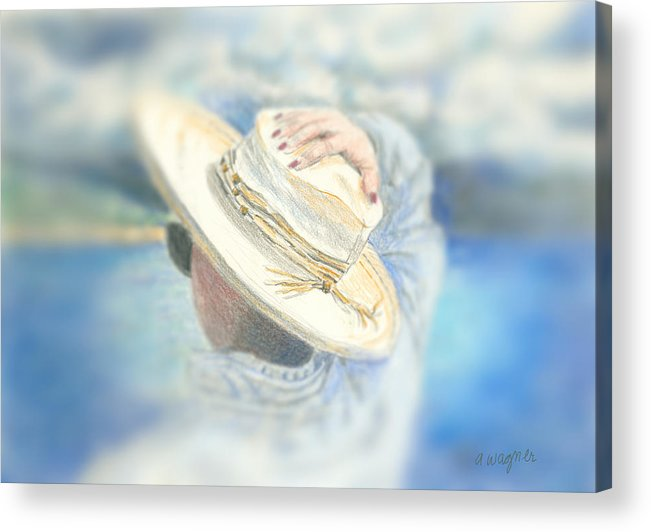 Hat Acrylic Print featuring the mixed media The Hat by Arline Wagner