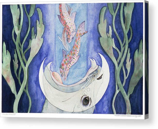 Surreal Acrylic Print featuring the painting The Moon Draws In by Eileen Hale
