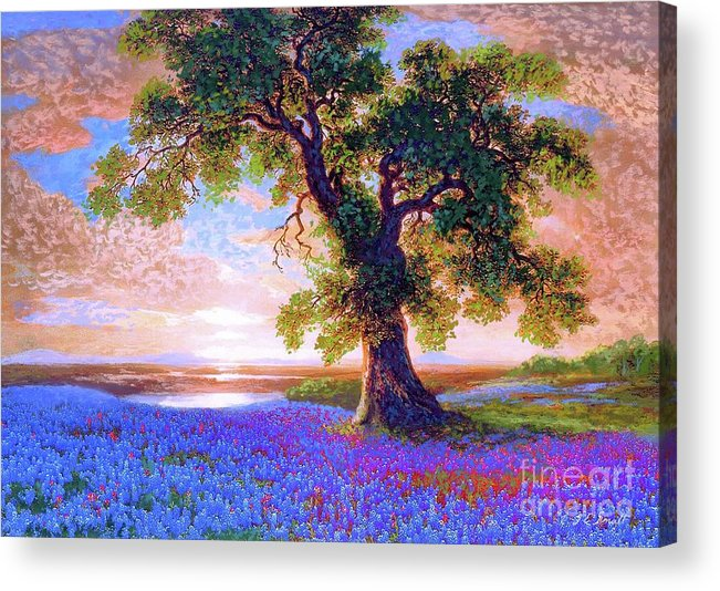 Sun Acrylic Print featuring the painting Bluebonnets by Jane Small