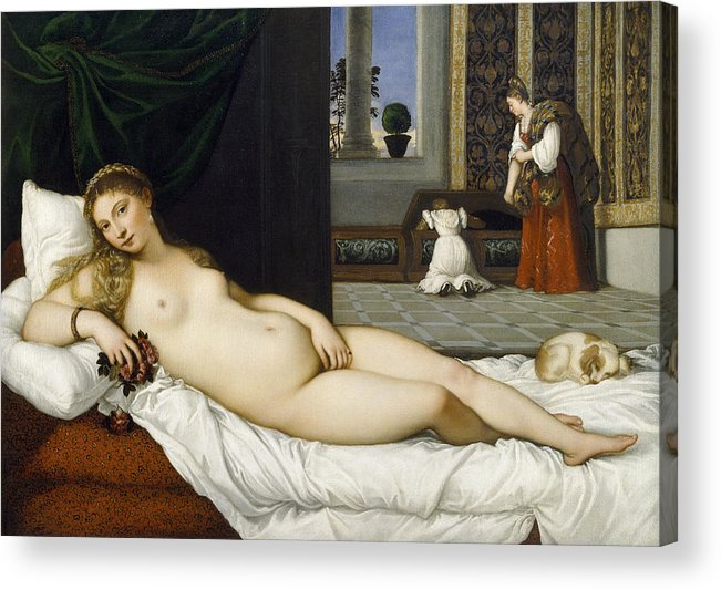 Nude; Bed Chamber; Female; Reclining; Venetian Renaissance; Goddess Of Love; Aphrodite; Interior; Maid; Chest; Cassone; Urbin Acrylic Print featuring the painting Venus Of Urbino Before 1538 by Tiziano Vecellio