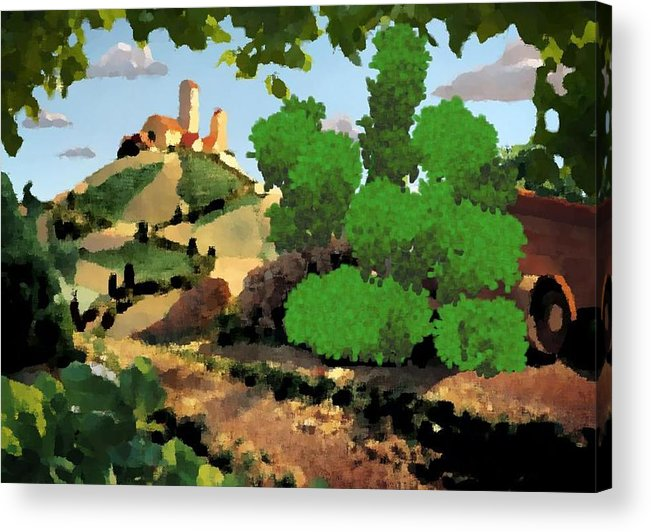 Village Old Road.trees.bushes.hill.littlt Tower.houses.farm.sky.clouds Acrylic Print featuring the digital art Village. Tower On The Hill by Dr Loifer Vladimir