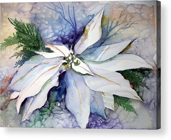 Floral Acrylic Print featuring the painting White Poinsettia by Mindy Newman
