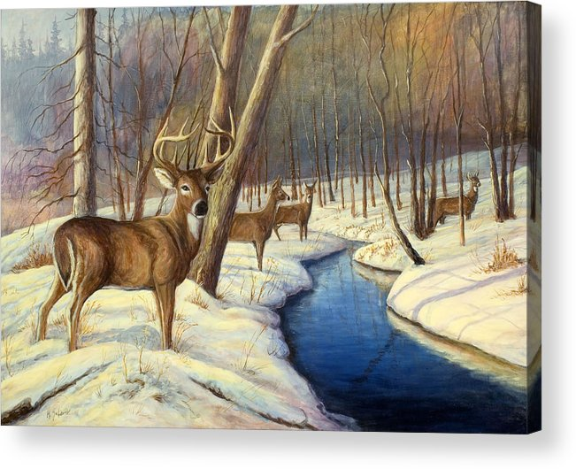 Wildlife Painting - Whitetail Deer Acrylic Print featuring the painting Winter Monarch by Michael Scherer