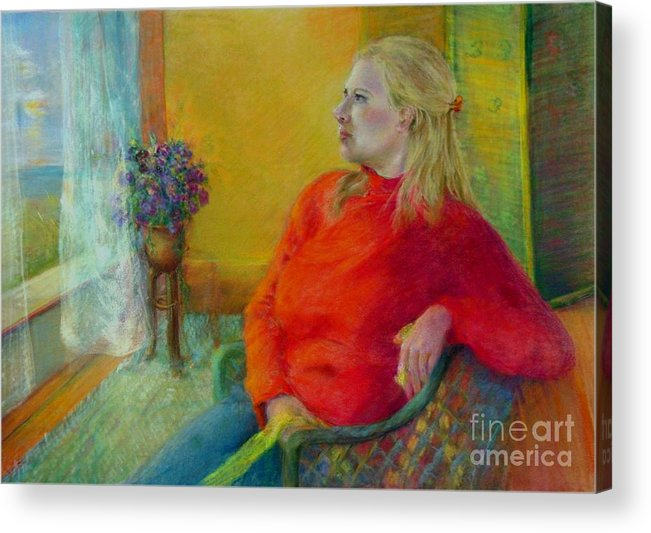 Portrait Acrylic Print featuring the painting Woman In Red   Copyrighted by Kathleen Hoekstra