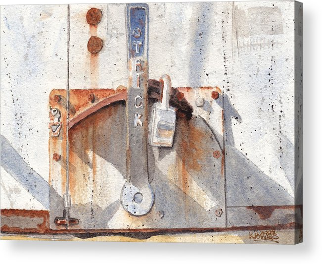Semi Acrylic Print featuring the painting Work Trailer Lock Number One by Ken Powers