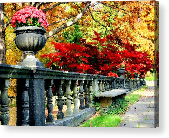 Rail Acrylic Print featuring the digital art Ye Olde Garden Bench by Kristin Elmquist