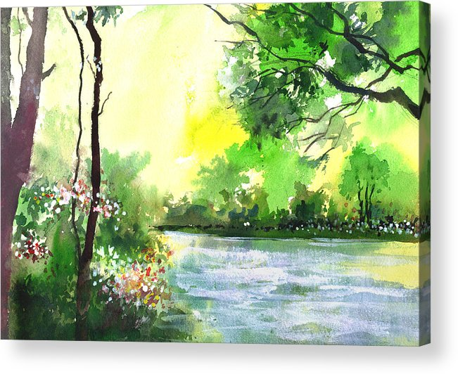 Sky Acrylic Print featuring the painting Yellow Sky by Anil Nene