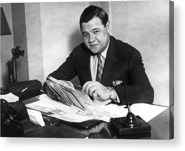 People Acrylic Print featuring the photograph Babe Ruth by Hulton Archive