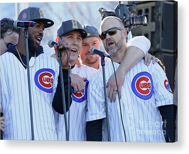 Three Quarter Length Acrylic Print featuring the photograph Chicago Cubs Victory Celebration by Jonathan Daniel